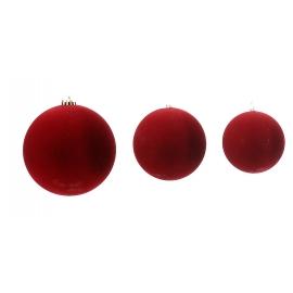 Boule de Noël velours rouge