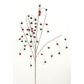 Branche dorée - cristaux rouges et verts