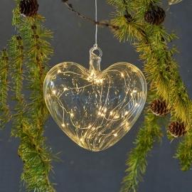 Coeur en verre 8 cm avec LED