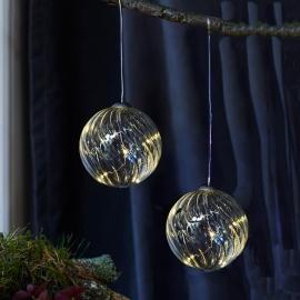 Boule en verre 8 cm avec LED
